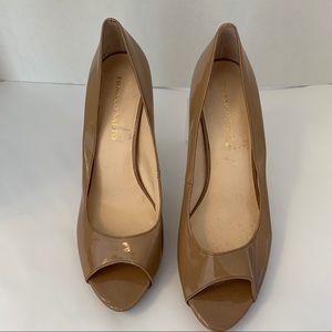 FRANCO SARTO YELENA tan 12 platform heels patent